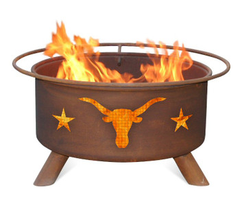 Texas Longhorn Steer with Stars Western Metal Fire Pit