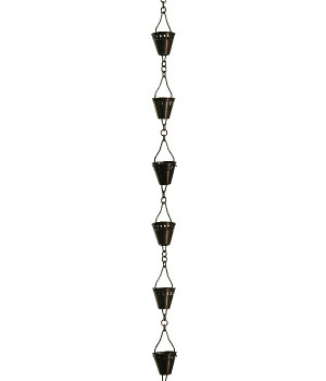 8.5' Metal Antique Copper Shade Cup Rain Chain