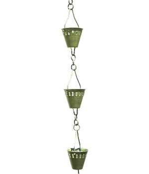 3' Metal Verdigris Shade Cup Rain Chain