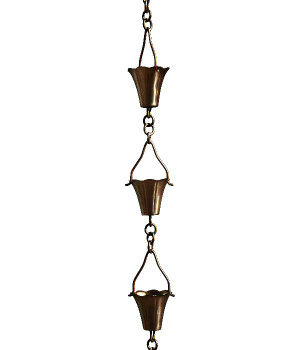 3' Metal Antique Copper Fluted Cup Rain Chain