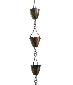 3' Metal Antique Copper Flower Cup Rain Chain
