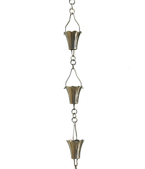 3' Metal Brushed Stainless Fluted Cup Rain Chain