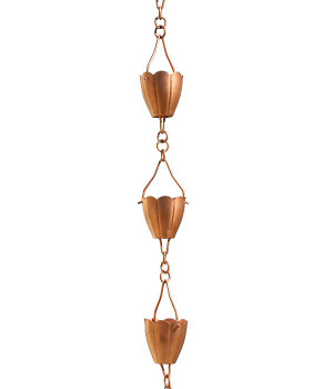 3' Metal Copper Flower Cup Rain Chain