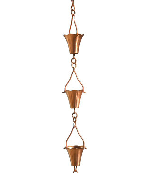 3' Metal Copper Fluted Cup Rain Chain