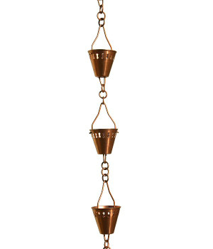 3' Metal Copper Shade Cup Rain Chain