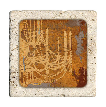 Chandelier Travertine Stone Beverage Coasters, Set of 8