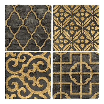 Ebony Travertine Stone Beverage Coasters by Regina Andrew, Set of 8