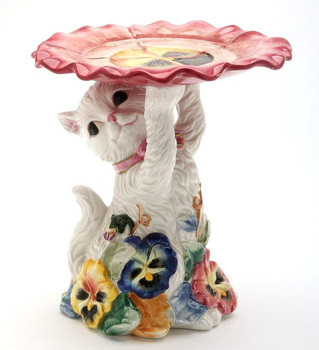Pansy Flower Cat Pillar Candle Holder