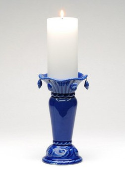 Ocean Wave Candle Holder with Hanging Shells