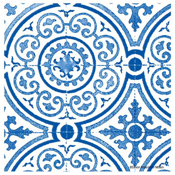 Blue Gilded Opulence Beverage Coasters by Devon Ross, Set of 12