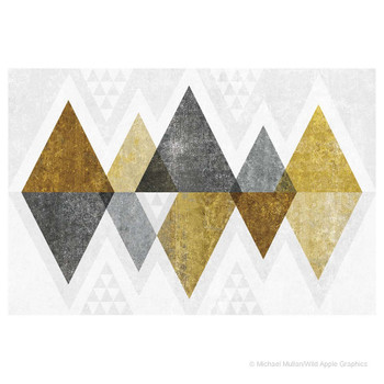 Mod Triangles Gold Absorbent Beverage Coasters, Set of 8