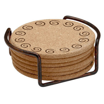 Swirls Cork Beverage Coasters with Steel Holders, Set of 14