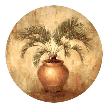 Potted Palm Sandstone Round Beverage Coasters, Set of 8