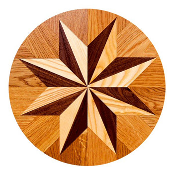 Parquet Star Tile Sandstone Round Beverage Coasters, Set of 8