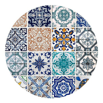 Lisbon Tiles Sandstone Round Beverage Coasters, Set of 8