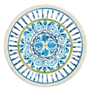 Mood Indigo I Sandstone Round Beverage Coasters, Set of 8