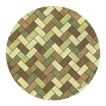 Green Brown Herringbone Sandstone Round Coasters by BJ Lantz, Set of 8