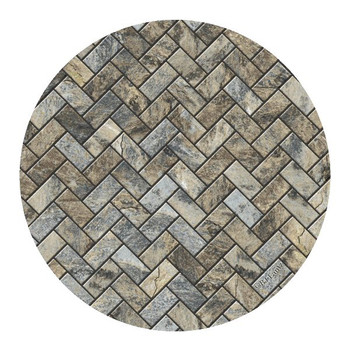 Stone Herringbone Sandstone Round Coasters by BJ Lantz, Set of 8