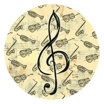 Music Study Sandstone Round Beverage Coasters by Ruth Bush, Set of 8