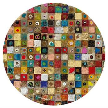 Galvanize Sandstone Round Coasters by Douglas Rosenstiels, Set of 8