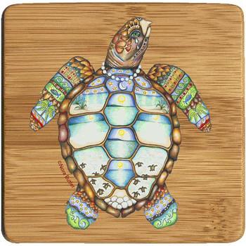 Loggerhead Rhythms Turtle Beverage Coasters, Set of 8