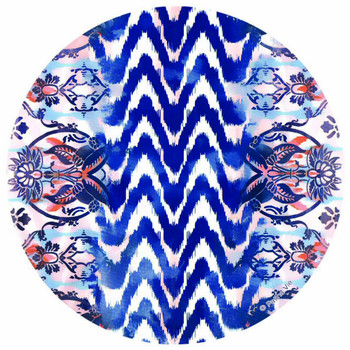 Indigo Wave Round Absorbent Beverage Coasters, Set of 8