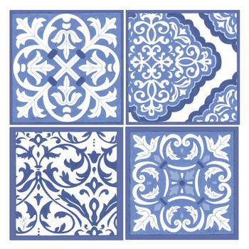 Blue and White Scrollwork Absorbent Beverage Coasters, Set of 8