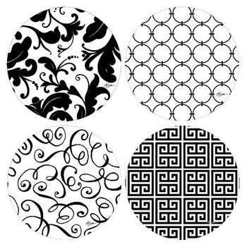 It's All Black and White Round Coasters by Jill Seale, Set of 8