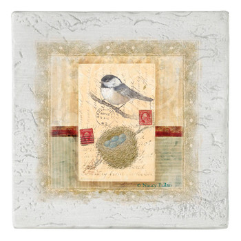 Love Letter Chickadee Bird Beverage Coasters, Set of 8