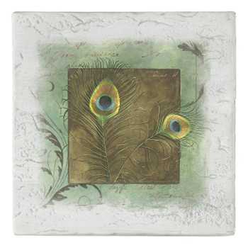 Peacock Feathers Beverage Coasters, Set of 8