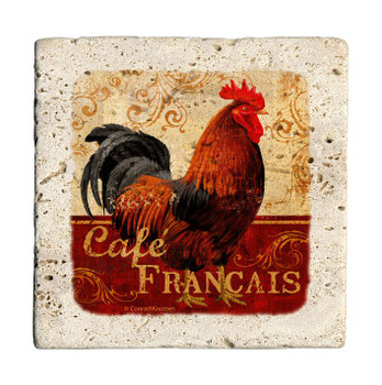 Cafe Francais Rooster Travertine Stone Beverage Coasters, Set of 8