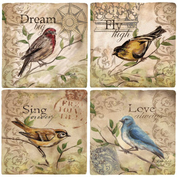 Song Birds Travertine Stone Beverage Coasters, Set of 8