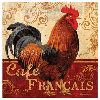 Cafe Francais Rooster Absorbent Coasters by Conrad Knutsen, Set of 8