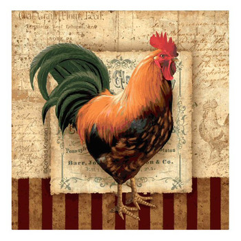 Prize Rooster II Beverage Coasters by Conrad Knutsen, Set of 8