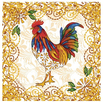 Rooster Flourish Absorbent Beverage Coasters by Karen Embry, Set of 8