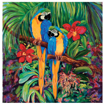 Blue and Golds Parrot Bird Coasters by Gloria Clifford, Set of 8