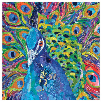 Cacophony of Color Peacock Bird Absorbent Beverage Coasters, Set of 8