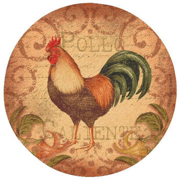 Caliente Rooster Cork Beverage Coasters by Elizabeth Brownd, Set of 12