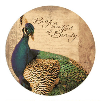 Be Your Own Kind of Beauty Peacock Sandstone Round Coasters, Set of 8