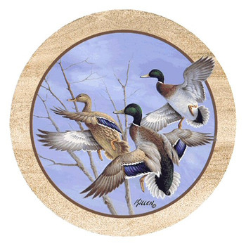 Mallards in Flight Sandstone Beverage Coasters by Jim Killen, Set of 8