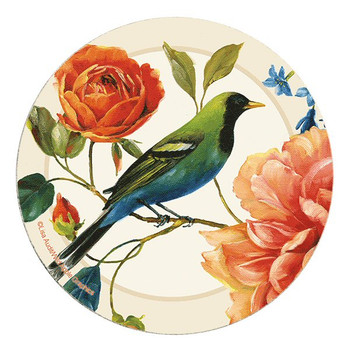 Rainbow Garden Bird and Flowers Sandstone Round Coasters, Set of 8
