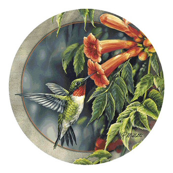 Hummingbird and Trumpet Vine Coasters by Rosemary Millette, Set of 8