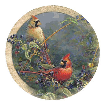 Cardinal Bird Pair Sandstone Beverage Coasters by Sam Timm, Set of 8