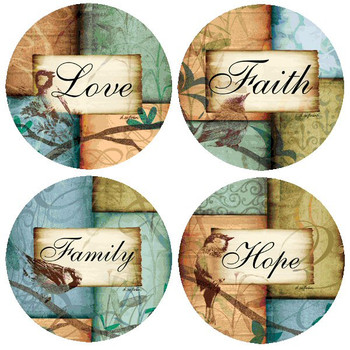 Birds Love Faith Family Hope Beverage Coasters by D Sullivan, Set of 8