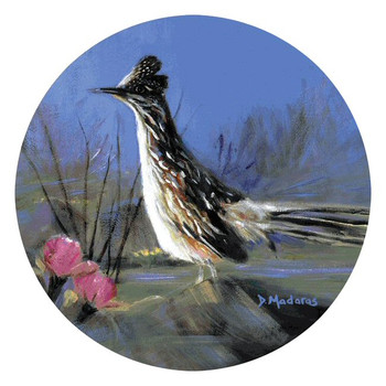 Roadrunner Bird Round Beverage Coasters by Diana Madaras, Set of 8