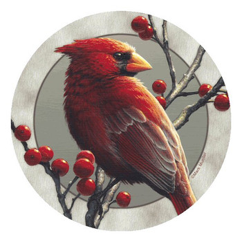 Cardinal Bird Round Beverage Coasters by Mark Mueller, Set of 8