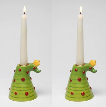 Christmas Tree Taper Candle Holder, Set of 2