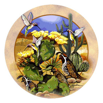 Quail Birds Behind Cactus Round Coasters by Donna Polivka, Set of 8