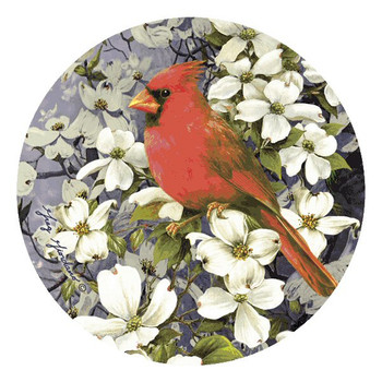 Cardinal on Dogwood Beverage Coasters by Greg Giordano, Set of 12