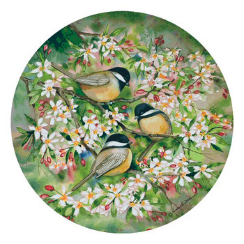 Chickadee Birds in Spring Coasters by Kathleen Parr McKenna, Set of 12